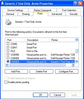 Receipt Printing to USB or Network